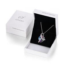 "Swarovski crystal SIVERY Purple ""Love Heart"" Fashion Pendant Necklace"