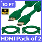 2 Pack HDMI 2.0 Cable 10ft Green Male Monitor Cord HDTV PS4 PS5 XBOX MAC LCD LED picture