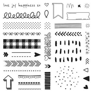 Doodled Borders S2102 NEW CTMH stamp set plaid arrow dots stars banner free ship