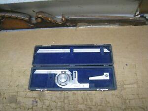 "Vintage Brown & Sharp No.496 Universal Bevel Protractor w/ Case  12"""