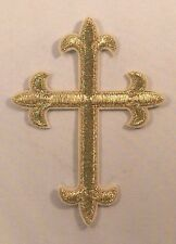 """(F23) GOLD CROSS 4"""" x 3"""" iron on patch applique Christian Religious"""