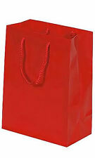 Gift Bags Euro Tote 100 Red Gloss Party Holiday Glossy 8 x 4 x 10 Rope Handles