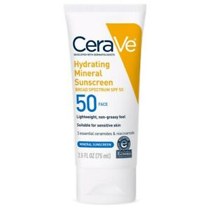 CeraVe Hydrating 100% Mineral sunscreen for Face with SPF50.