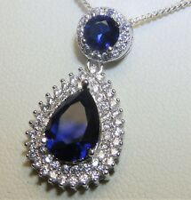 """Sapphire Diamond Cluster Pendant  925 Sterling Silver Pear 18"""" Chain Necklace"""