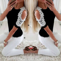 Womens Pearl Cold Shoulder T-Shirt Tops Short Sleeve Summer Tee Shirts Blouse