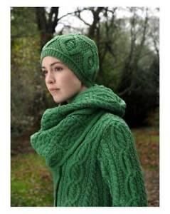 Aran Crafts Irish Merino Wool Diamond Scarf (Green)