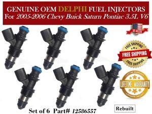 6 Fuel Injectors OEM Delphi for 2005-2006 Chevy Buick Saturn Pontiac 3.5L V6