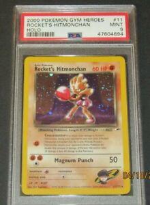 2000 Pokemon Gym Heroes Holo Rocket's Hitmonchan #11 PSA 9 MINT SWIRL!