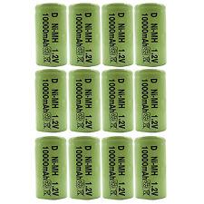 12PCS D 10000mAh 1.2V Ni-MH Rechargeable Battery RC Radio Flashlight Ebike Green