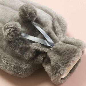Large 2L Natural Rubber Hot Water Bottle With Warm Faux Fur Fleece Knitted Cover
