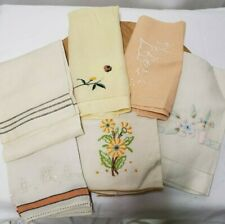 Antique Lot of 6 Linen Hand Stitched Hand Towels From the 1930's