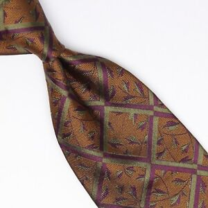 HMS Mens Silk Necktie Bronze Burgundy Green Leaf Lattice Weave Woven Tie Italy