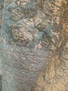 (2) Pottery Barn Vintage Quilted Pillow Shams Patchwork 26x26 Blue Pink Floral