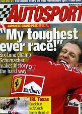 Autosport (16 Oct 2003) Schumacher, Japanese GP, Takuma Sato, Adam Carroll, CART