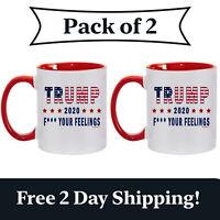 2 Pack - Trump 2020 F Your Feelings Red Handle Ceramic Coffee Mug Funny MAGA Cup