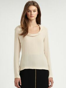 new RAOUL 100% silk blouse top,ivory white/nude beige,loose,NIKKI TOP,M,8US,12UK