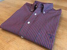 GANT 'Avenue Dobby' Reg Fit Long Sleeve Red / White / Blue Striped Shirt -Size L