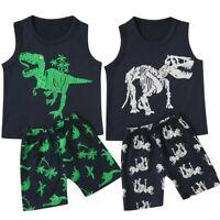 Toddler Boys Baby Kids Girls Summer Dinosaur Vest+Shorts Outfit Set Clothes