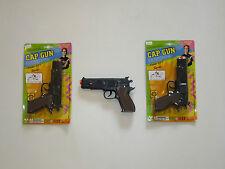 "2 NEW BLACK TOY CAP GUNS 7"" POLICE PISTOL SUPER 007 REVOLVER FIRES 8 RING CAPS"