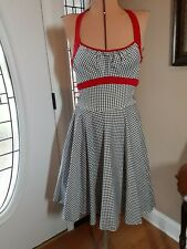 Retro Look PINUP COUTURE DRESS Black & White Red Accent Size LARGE