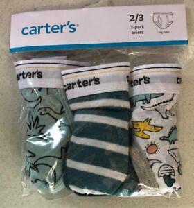 New Carter's 3 Pairs Underwear Boy Briefs 2 3 4 5 6 7 8 year Green Dinosaur Dino