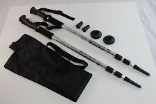 One Pair Trekking Walking Hiking Sticks Poles Alpenstock anti-shock Bag Silver