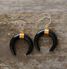 Boho Large Black Agate Double Horn Dangle Drop Gold Earrings Crescent Moon Hook