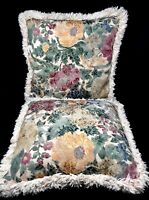 """Vintage Set of 2 Floral Brocade Tapestry Pillows 17"""" x 17"""""""