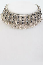 "15"" antique silver fringe collar choker bib necklace"