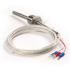 RTD Pt100 ohm Probe Sensor L 50mm PT NPT 1/2'' Thread with Insulation Cable Wire