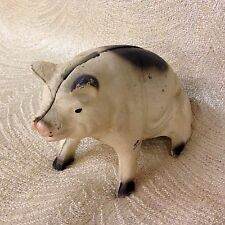 Vintage Cast Iron Pig Bank in White with Black Spots.