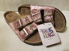 NWT Womens MUK LUK Size 9 Pink Velvet Two Adjustable Strap Slip On Shoes