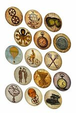 Vintage inspired 30 steampunk round circle bottlecap stickers cut ready to use