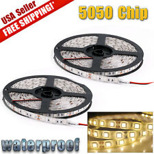 2x Warm White 5M 300 LED Strip Light Flexible 5050 SMD 4500K Waterproof DC 12V