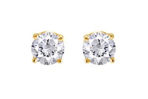 IGI Certified 1/2ct Round White Genuine Diamond Stud Earrings in 14K Solid Gold