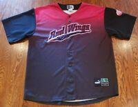 Vintage Detroit Red Wings Baseball Jersey Shirt Puma Sz L Rare Red Black