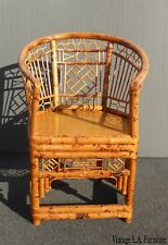 Vintage Chinoiserie Brighton Pavilion Style Rattan Tortoise Bamboo Arm Chair