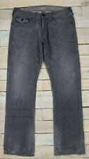 TRUE RELIGION Ricky With Flaps Relaxed Straight Distressed Gray Jeans Size 34x33