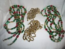 LOT OF 4 STRANDS OF BEAD GARLAND ~ 2-RED~GREEN~GOLD + 2- ALL GOLD  ~PRETTY ~LQQK