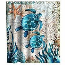 Final Friday Nautical Green Sea Turtles Beach Theme Fabric Shower Curtain Set...