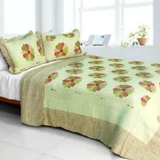 3 Pc Round Midnight country patch floral 100% Cotton Queen Quilt Shams