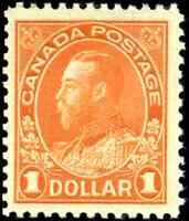 Canada #122 mint F-VF OG NH 1925 King George V $1 orange Admiral Dry Printing