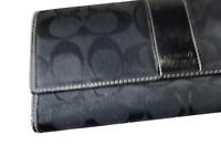 COACH Black Signature Jacquard & Leather Long Tri-fold Wallet Clutch