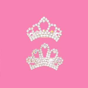 Dog Tiara Crowns- Clear Rhinestone Crystal Iridescent Princess Tiara Crown Topkn