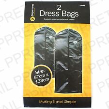 Set Of 2 BLACK DRESS COVER ZIPPED BAG Safe Coat Gown Clothing Travel Protection