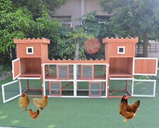 "Large Fashion 102.8"" Rabbit Hutch Poultry Cage Chicken Coop  w Two Storage Area"