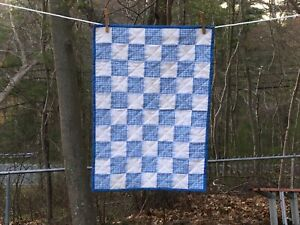 """EYELET & BLUE GINGHAM BABY CHANGING PAD 17.5"""" x 24.5"""" - HAND MADE - BCP 121"""