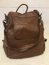UTO Ladies Brown PU Faux Leather 3 Way Zip Up Backpack Rucksack Bag Handbag