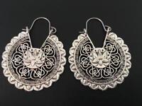 Silver Hoop Filigree Disc Circle Earrings Tribal Ethnic Lotus Flower Women Girls