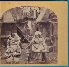 stereoview photo spinning mother & naughty girl & lover scenery stereo ca 1860